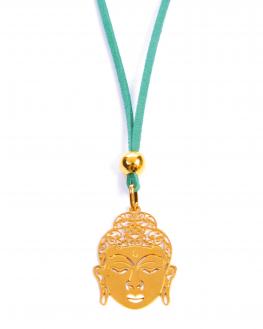Collier sautoir suédine pendentif plaqué or 18k tête bouddha pour femme - Bijoux Madame Vedette