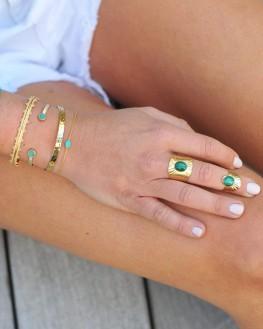 Bague tendance ouverte plaqué or 18k agate verte - Bijoux fantaisie chics - Madame Vedette