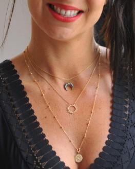 Collier chaîne plaqué or 18k pendentif corne - Création bijoux fantaisie femme - Madame Vedette