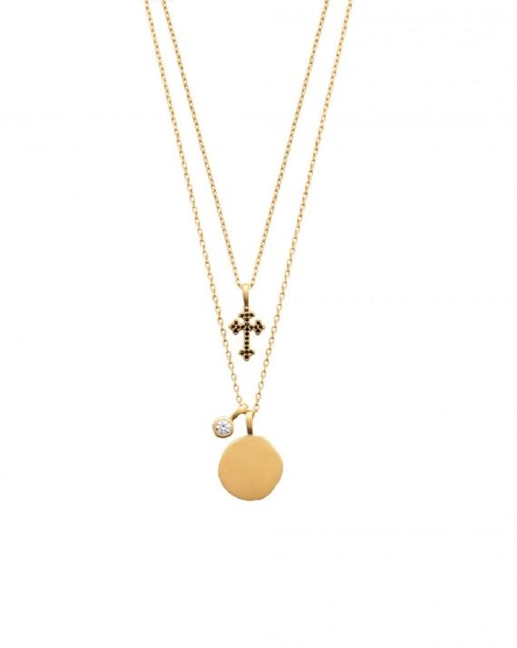 Collier fantaisie double rang plaqué or 18k - Madame Vedette, créatrice bijoux fantaisie tendances
