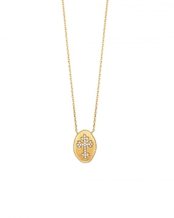 Collier chaîne tendance plaqué or 18k médaille croix brillants - Bijoux fantaisie chics - Madame Vedette