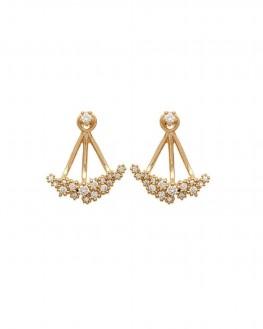 Lobes d'oreilles plaqué or brillants zircon - Bijoux fantaisie tendances - Madame Vedette