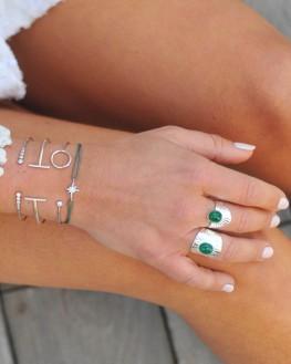 Bague fantaisie argent 925 et pierre amazonite - Bijoux tendances pour femme - Madame Vedette