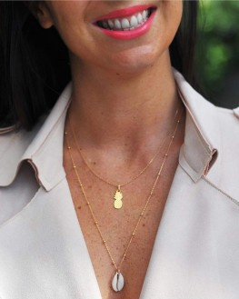 Sautoir chaîne plaqué or 18k pendentif coquillage - Bijoux fantaisie tendances - Madame Vedette