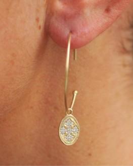 Boucles d'oreilles créoles plaqué or 18k brillants zircon - Création bijoux fantaisie - Madame Vedette