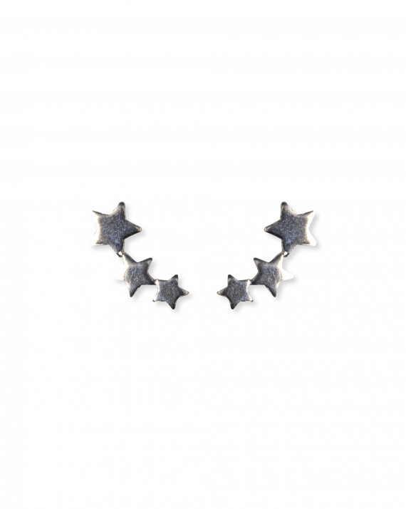 Acheter boucles d'oreilles montantes composition étoiles argent 925 - Bijoux de créateur - Madame Vedette
