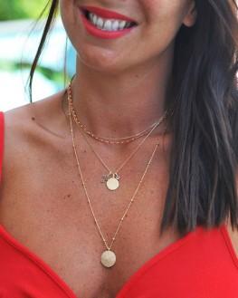 Collier perles cylindre couleur chaîne plaqué or - Bijoux tendances - Madame Vedette
