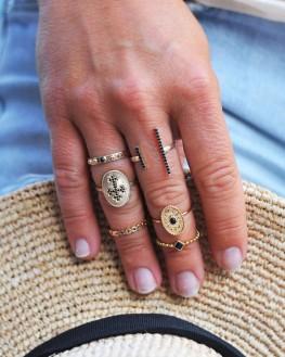 Bague plaqué or 18k pierre noire sertie - Création bijoux tendances - Madame Vedette