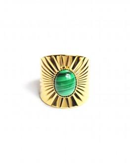 Bague tendance ouverte plaqué or 18k pierre agate verte - Bijoux fantaisie tendances - Madame Vedette