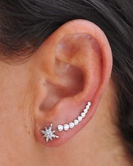 Puces d'oreilles étoiles en argent 925 et brillants zircon - Bijoux tendances - Madame Vedette