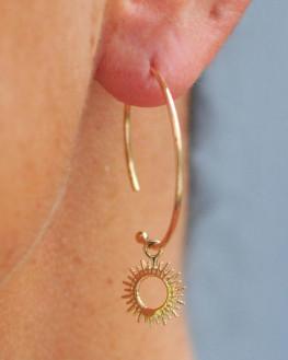 Créoles plaqué or 18k pendentif soleil - Création bijoux fantaisie - Madame Vedette
