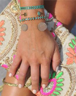 Jonc ouvert plaqué or 18k et pierre aventurine - Bracelet fantaisie tendance - Madame Vedette