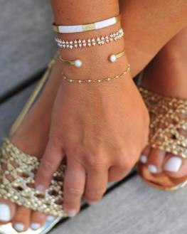 Bracelet fantaisie plaqué or 18k perles blanches - Bijoux de créateur - Madame Vedette