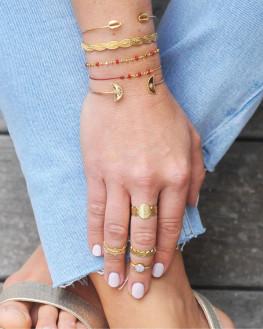 Bague tendance texturée plaqué or - Bijoux de créateurs - Madame Vedette