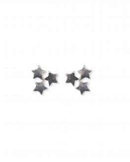 Boucles d'oreilles trio étoilé en argent 925 création pas cher pour femme - Madame Vedette