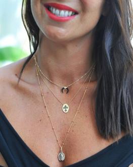 Sautoir or fin 18k médaille motif croix onyx noire - Bijoux fantaisie créateurs - Madame Vedette