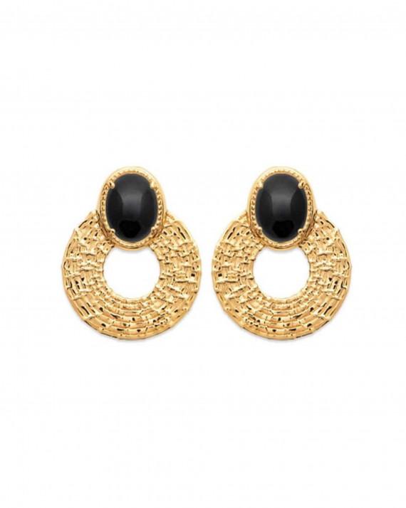 Boucles d'oreilles pendantes cercles plaqué or 18 ct pierres agate - Atelier bijoux Madame Vedette