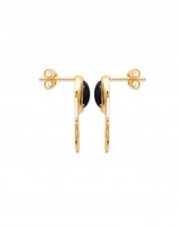 Nouveauté boucles d'oreilles plaqué or tendances pierres agate - Atelier bijoux Madame Vedette