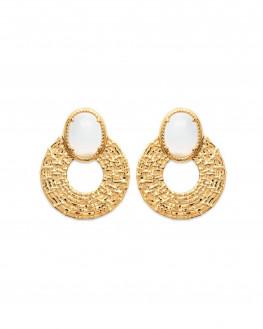 Boucles d'oreilles pendantes cercles plaqué or 18k pierres de lune - Atelier bijoux - Madame Vedette