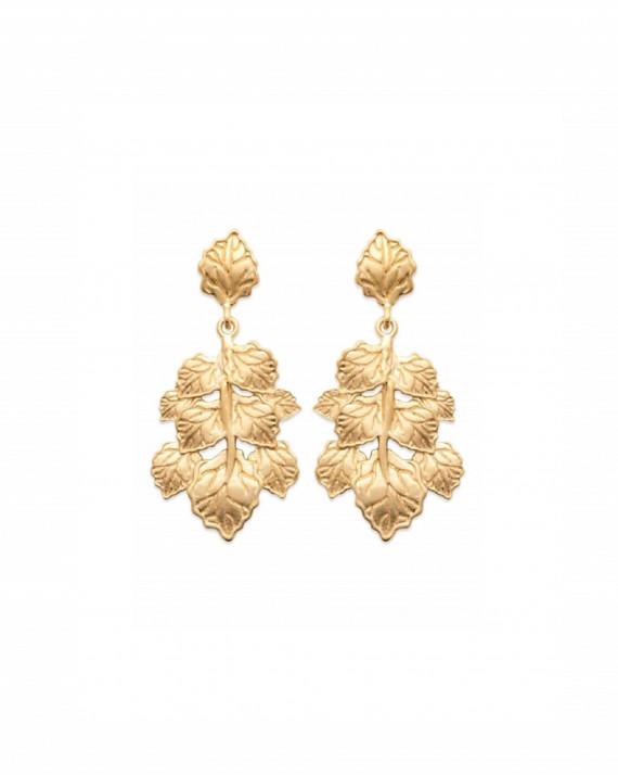 Boucles d'oreilles feuilles plaqué or 18 ct - Atelier bijoux fantaisie - Madame Vedette