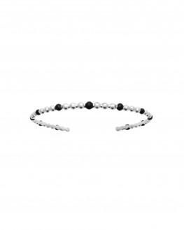 Bracelet ouvert tendance en argent 925 boules noires - Atelier bijoux fantaisie Madame Vedette