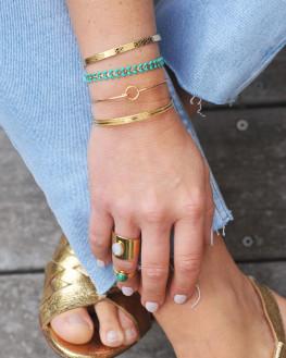 Bracelet châine plaqué or 18k tendance turquoise - Atelier bijoux fantaisie - Madame Vedette