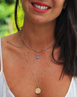 Collier fin plaqué or 18 ct perles cylindre de couleur - Création atelier Madame Vedette