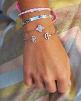 Composition tendance bracelets joncs argent 925 et brillants zircon pour femme - Atelier bijoux fantaisie Madame Vedette