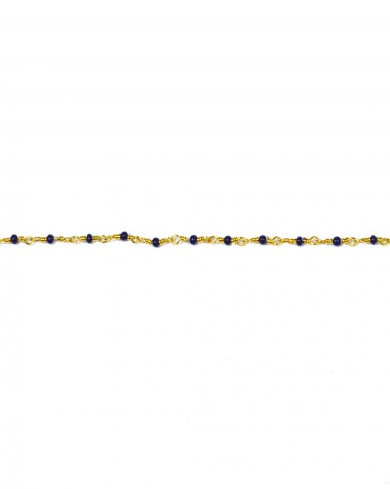 Bracelet chaîne plaqué or perles fines bleues création tendance femme - Madame Vedette