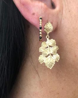 Boucles d'oreilles pendantes feuilles plaqué or 18ct - Atelier bijoux Madame Vedette