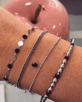 Jonc tendance en argent 925 email noire - Atelier bijoux fantaisie - Madame Vedette