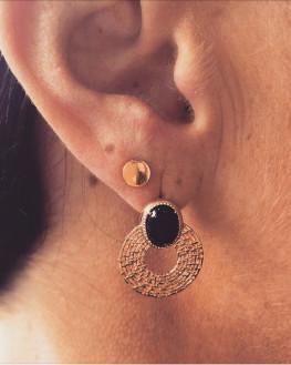 Boucles d'oreilles plaqué or pierre d'agate noire - Atelier création bijoux - Madame Vedette