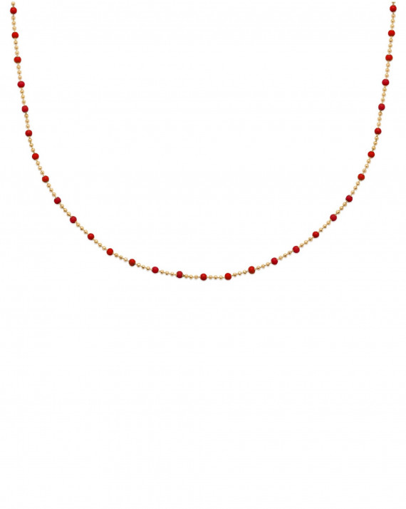 Collier chaine plaqué or et perles en émail - Création atelier bijoux Madame Vedette