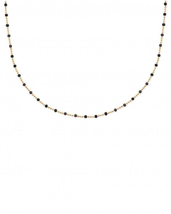 Collier chaine boule plaqué or perles émail - Bijoux de créateurs - Madame Vedette