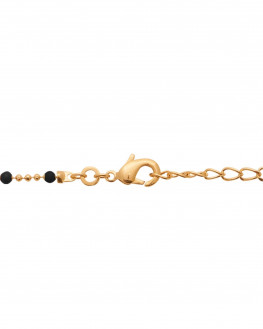 Collier plaqué or 18k perles couleur noire - Bijoux de créateurs - Madame Vedette