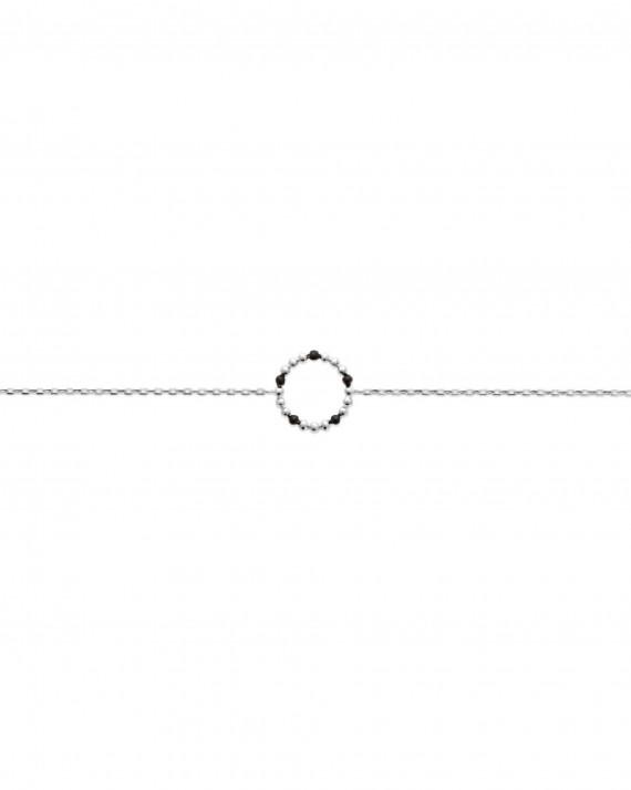 Nouveauté bracelet fin chaine argent 925 perles email noire - Atelier bijoux tendance - Madame Vedette