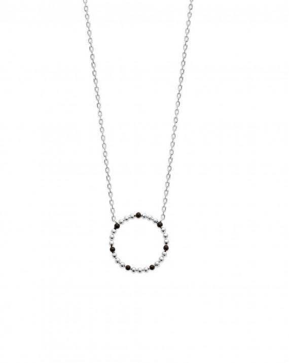 Collier chaîne pendentif cercle argent 925 émail noir - Création bijoux Madame Vedette