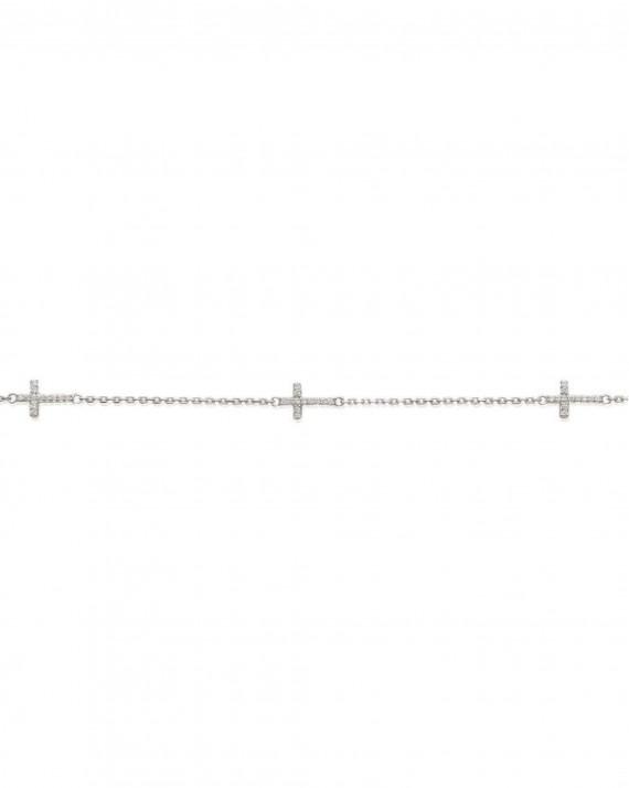 Bracelet chaine multiples croix argent 925 et brillants zircon - Atelier Madame Vedette