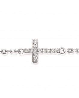 Bracelet argent 925 croix brillants zircon - Atelier bijoux Madame Vedette
