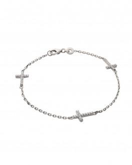 Bracelet argent 925 croix brillants zircon - Atelier bijoux fantaisie Madame Vedette