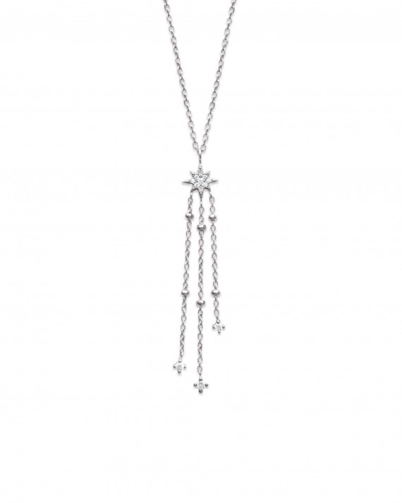 Collier chaîne étoile filante argent 925 brillants zircon - Atelier bijoux Madame Vedette