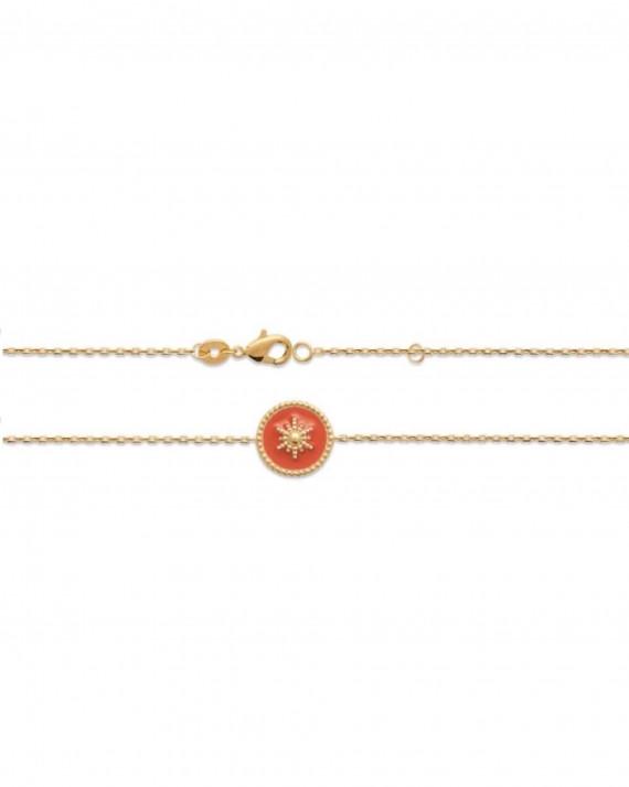 Bracelet fantaisie plaqué or pastille émail couleur - Atelier bijoux Madame Vedette