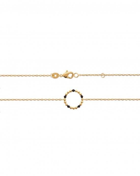 Bracelet fantaisie plaqué or pour femme perles émail noir - Atelier bijoux Madame Vedette