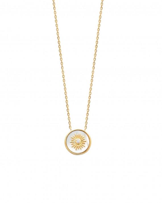 Collier chaine plaqué or médaillon nacre - Atelier bijoux Madame Vedette