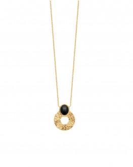 Collier créateur pendentif plaqué or et pierre d'agate - Atelier bijoux Madame Vedette