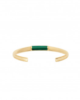 Bracelet jonc plaqué or 18k pierre de malachite - Atelier bijoux créateur Madame Vedette