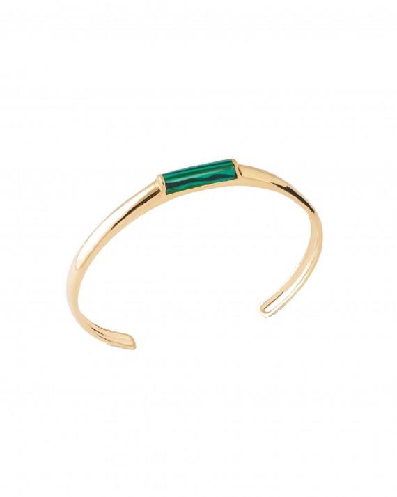 Bracelet jonc ouvert plaqué or pierre de malachite - Atelier bijoux Madame Vedette