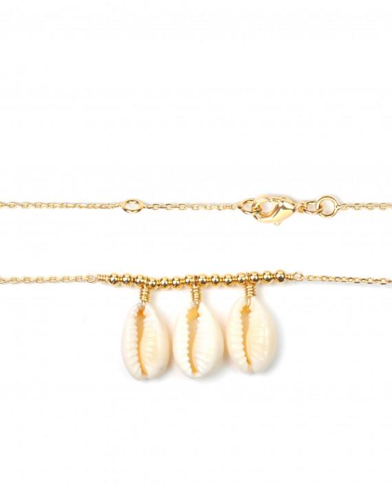 Création bracelet femme plaqué or trio coquillage - Atelier bijoux Madame Vedette