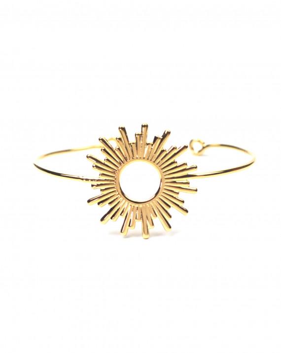 Bracelet jonc ouvert pour femme en plaqué or - Atelier bijoux Madame Vedette