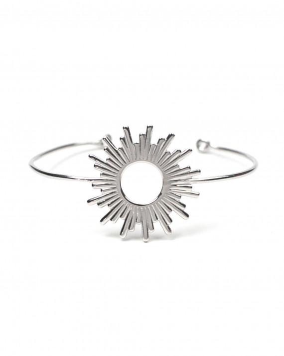 Bracelet jonc tendance femme en argent 925 motif solaire - Atelier bijoux Madame Vedette